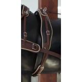 Harnais attelage un cheval Arden biothane couleur brun avec liseré
