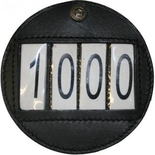 Porte numéros rond en cuir pour harnais